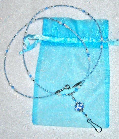 Sapphire Blue + White Lampwork ID Badge Holder Lanyard w/ Swarovski Crystals