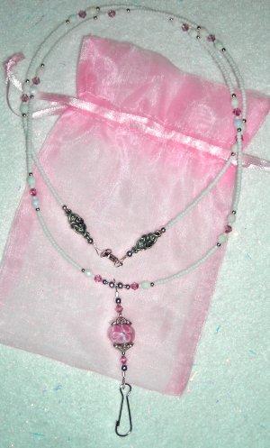 Pink + White Lampwork ID Badge Holder Lanyard w/ Swarovski Crystals