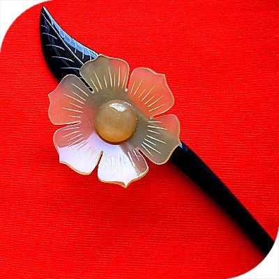 QueCraft FLOWER Hair Stick / Pin HORN - Hand Carved