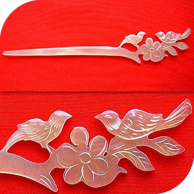 QueCraft BIRDS Hair Stick / Pin HORN - Hand Carved