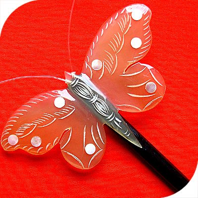 QueCraft BUTTERFLY Hair Stick / Pin HORN - Hand Carved