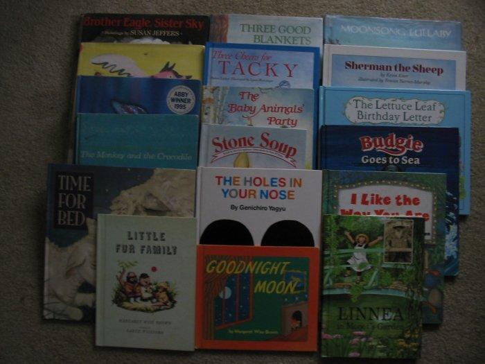 Lot of 18 Hardcover  Books Goodnight Moon - Rainbow Fish Children's Picture Books