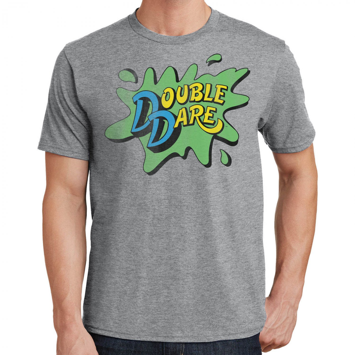 Size L - Nickelodeon Double Dare Logo Gray Heather Mens T-Shirt