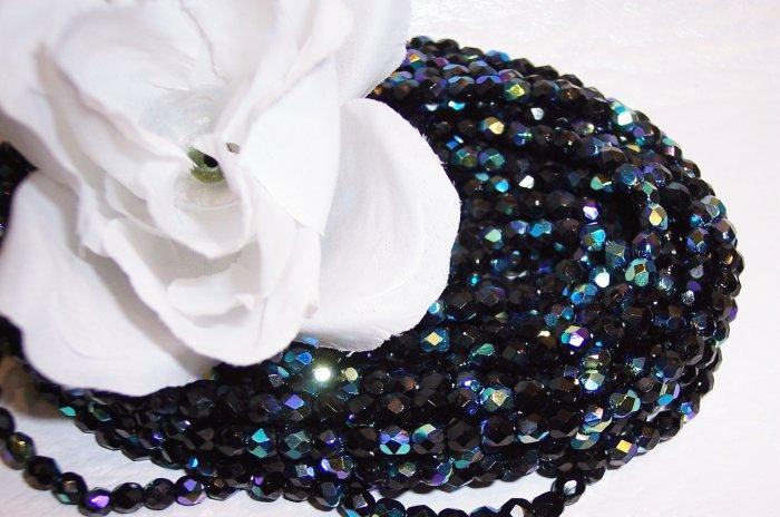 BLACK AB Czech Fire Polished Crystal 4mm Beads Q.50