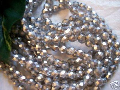 SILVER MATTE Czech Fire Polished Crystal 4mm Beads q.50