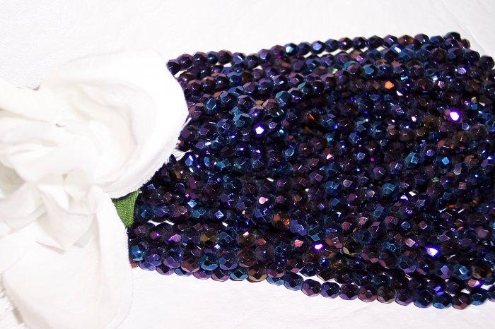 IRIS BLUE Czech Fire Polished 4mm Beads q. 50