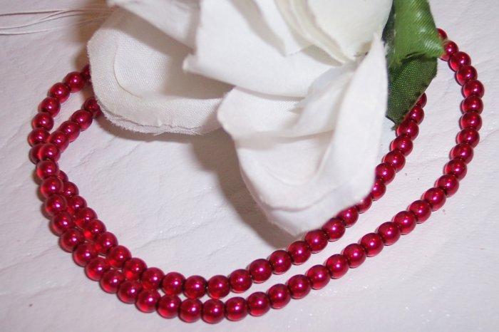 RED 4mm Round Czech Glass Druk Beads 100