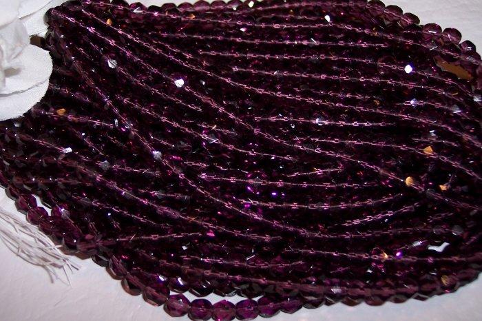 AMETHYST Czech Fire Polished Crystal  6mm Beads q.50