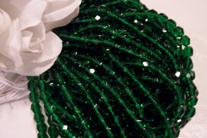 EMERALD GREEN Czech Fire Polished 6mm Beads q.50