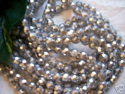 SILVER MATTE Czech Fire Polished Crystal 8mm Beads q.50