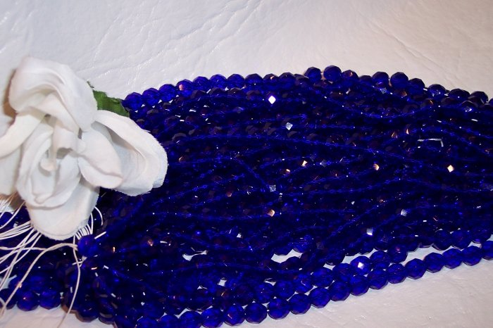 COBALT Czech Fire Polished 8mm Beads q.50
