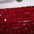 SIAM RUBY Czech Fire Polish Faceted Rondells 6/3mm q.25