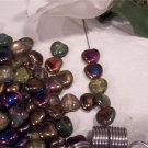 Iridescent Puff Heart Czech Glass Beads 8mm q.50