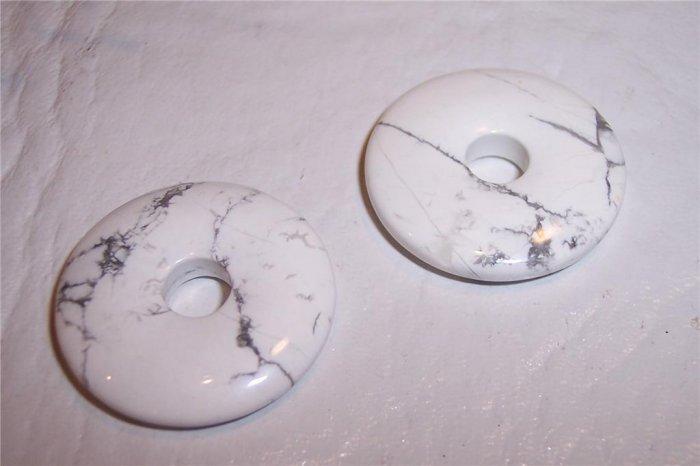 WHITE HOWLITE Donut Bead 40mm