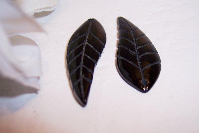 BLACK AGATE Carved Leaf Drop (pk 2)