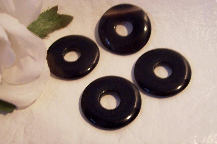 BLACK AGATE  Donut Bead 25mm