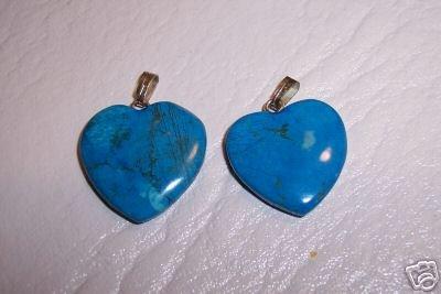 TURQUOISE HOWLITE Heart Pendants 2 pack