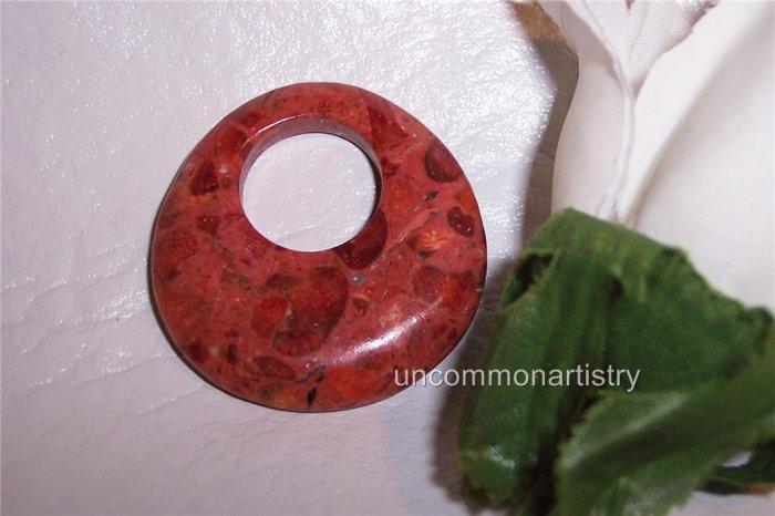APPLE CORAL GoGo Pendant Donut Bead 40mm