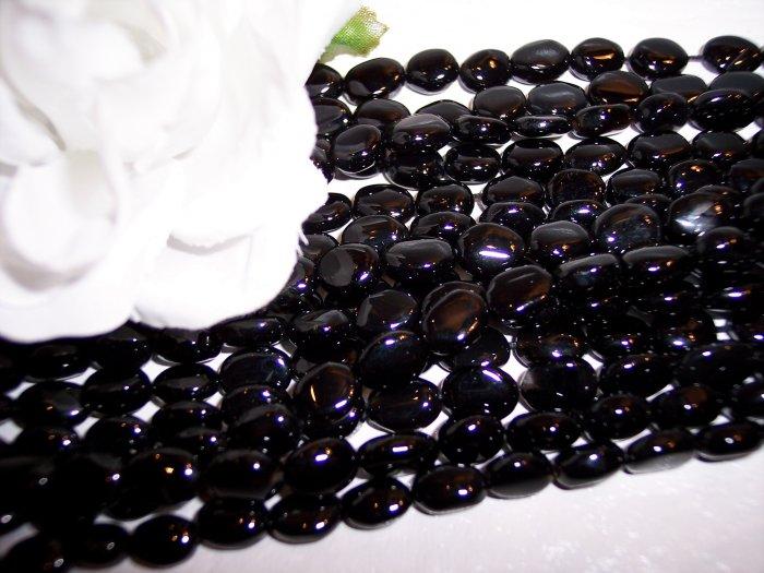 BLACK ONYX 7x9mm Oval Beads