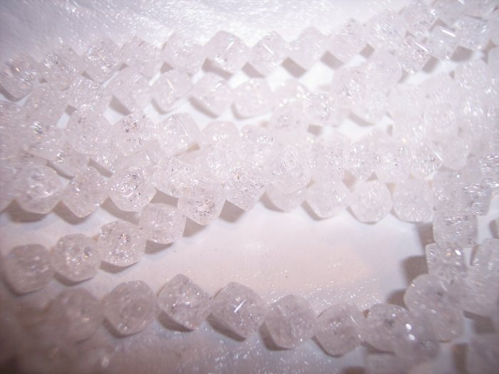 CRACKED CRYSTAL Quartz 4mm Cube Beads SIDE-DRILLED