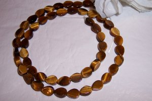 TIGER EYE Flat Teardrop Beads