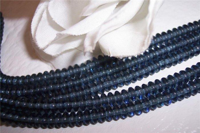 MONTANA BLUE Czech 4mm Rondell Beads  100pcs