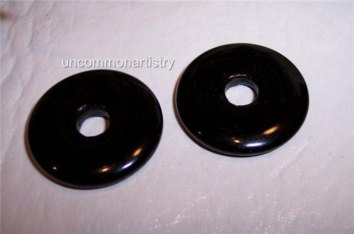 BLACK AGATE  Donut Bead 40mm