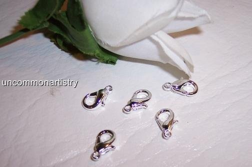 Lobster Claw Clasps Silver plated  Lg Rounded Ovals q.10