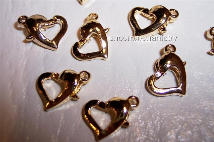 LOBSTER Claw Clasps Gold Plated HEART-Shaped q.10