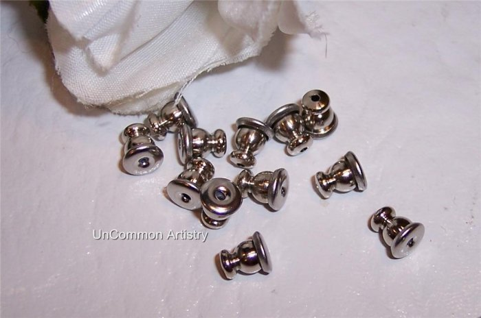 BULLET CLUTCHES Silver Plated  for Post Earrings q.25