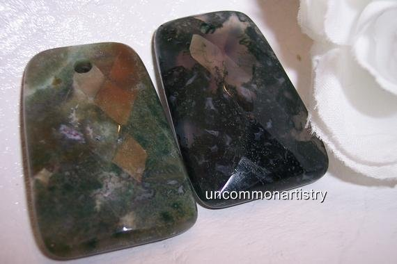 MOSS AGATE Faceted Trapezoid Pendant