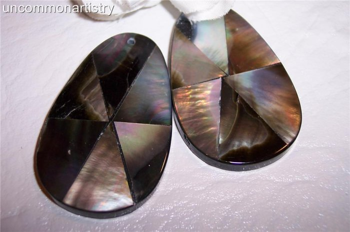 ABALONE Inlay Teardrop Station Bead Pendant 44x29mm