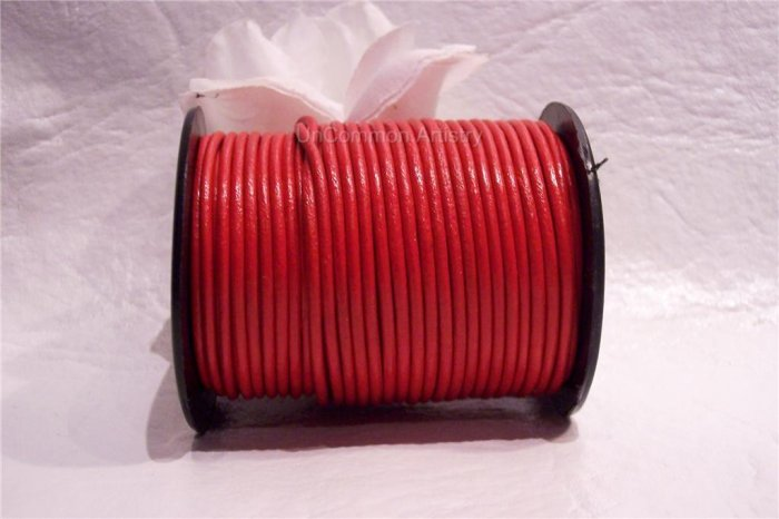 LEATHER CORD 2mm RED 5 yards