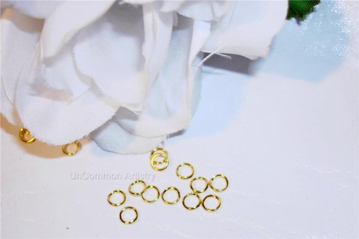 8mm OPEN GOLD PLATED Jump Rings 18g. q.100
