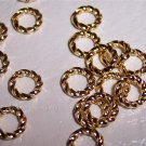 8mm OPEN GOLD PLATED Jump Rings FANCY TWIST 18g. q.50