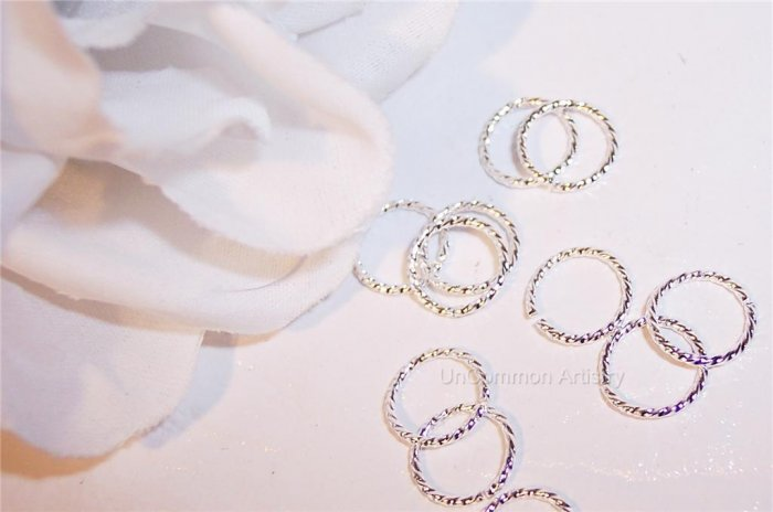 8mm OPEN SILVER PLATED Jump Rings TWIST 18g. q.50