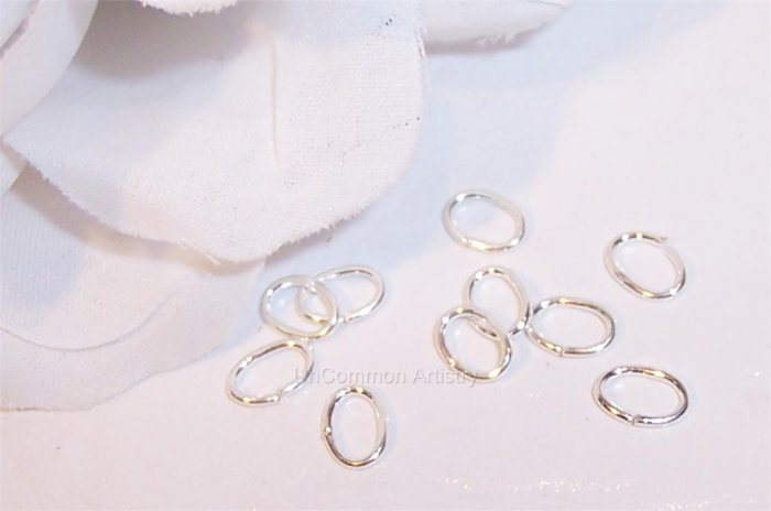 4x6mm OVAL Open Jump Rings STERLING SILVER q.50