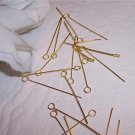 "1"" EYE PINS 21 Gauge GOLD PLATED q.100"