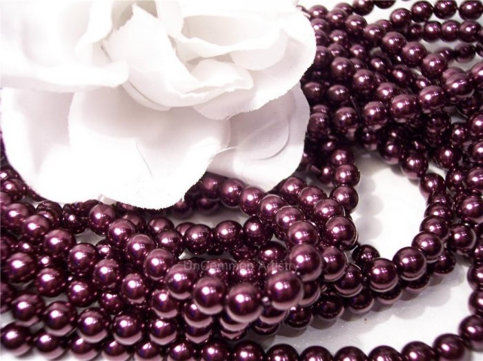 GLASS PEARLS Czech 6mm Round PLUM q.100