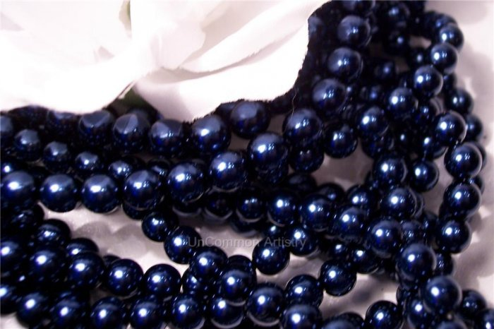 GLASS PEARLS Czech 6mm Round ROYAL BLUE q.100