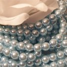 GLASS PEARLS Czech 6mm Round BABY BLUE q.100