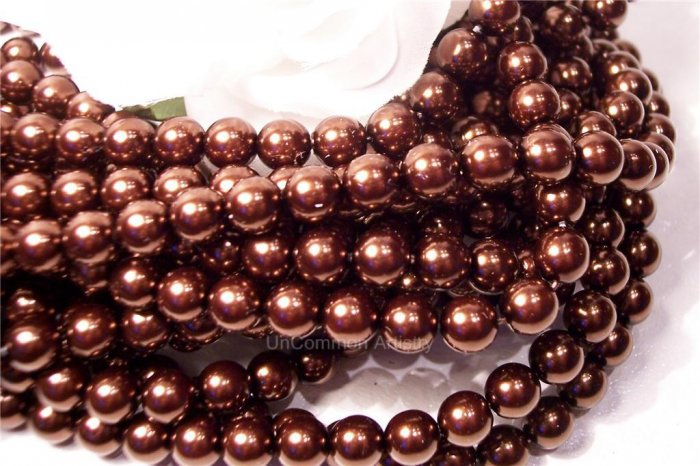 GLASS PEARLS Czech 6mm Round CHOCOLATE q.100