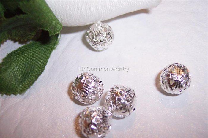 7mm FILIGREE Round Beads SILVER PLATED q.10