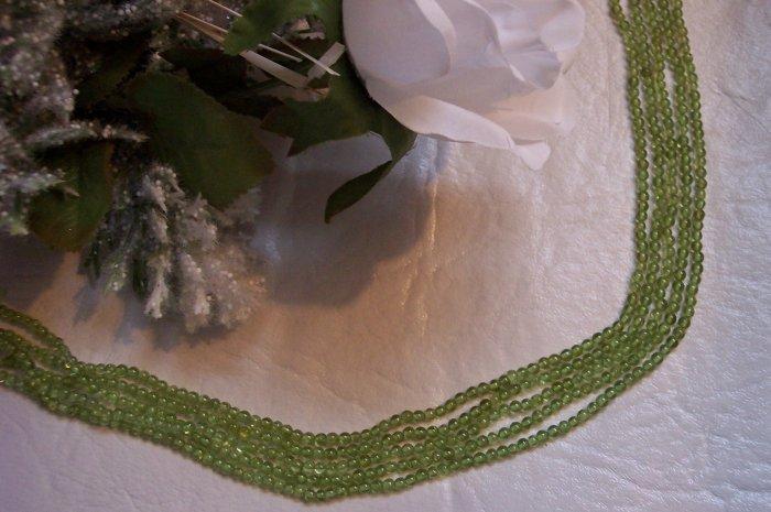 """PERIDOT Beads 3-4 mm Round 15"""" Strand"""