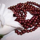 "Fresh Water Potato PEARLS 6-9mm CRANBERRY 16"" strand"