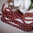 "Fresh Water Rice PEARLS 4-5mm POMEGRANATE 15"" Strand"