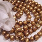 "Fresh Water Potato PEARLS 8-9mm ANTIQUE BRASS 16"" str."