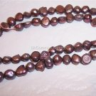 "Fresh Water NUGGET PEARLS 4-5mm MAUVE 15"" Strand"