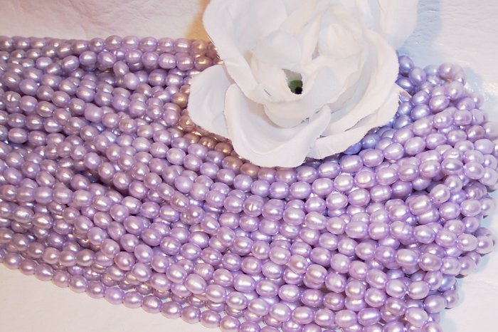 """Fresh Water RICE PEARLS 4-6mm LAVENDER 16"""" Strand"""