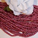 "Fresh Water Potato PEARLS 3-4mm RASPBERRY 16"" strand"